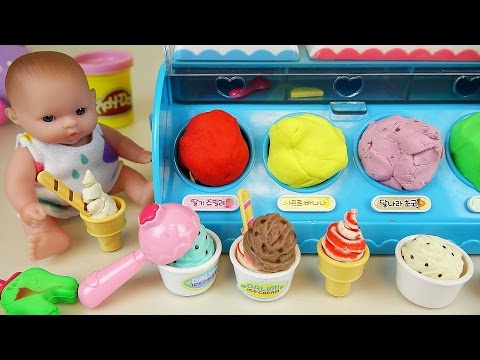 Baby Doll Ice cream shop and Play Doh ice cream toys play