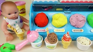 Baby Doll Ice cream shop and Play Doh ice cream toys play thumbnail