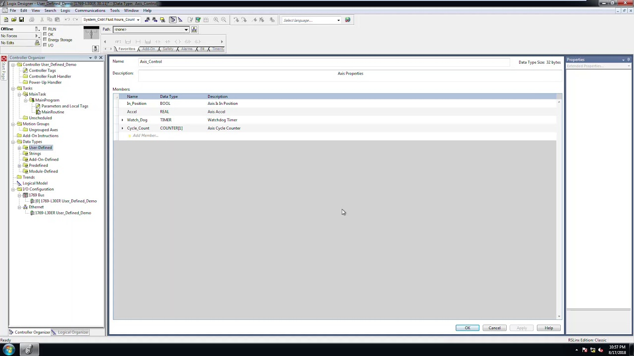 RSLogix5000 Adding And Using User Defined Type Variables