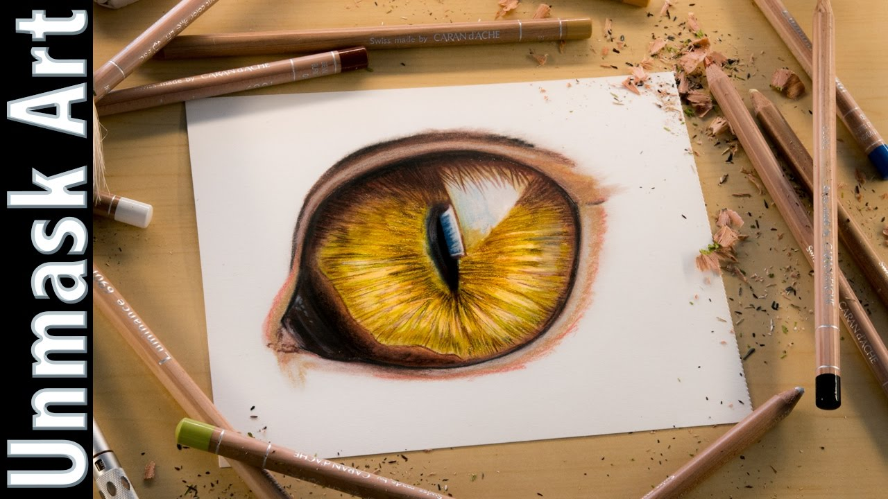 Cat eye colored pencil drawing time lapse