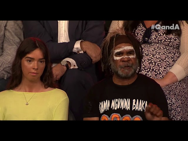 Aboriginal man Bruce Shillingsworth talking on ABC's Q&A program about water and drought