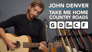 Take Me Home Country Roads acoustic easy guitar lesson (no pick - strum with fingers)
