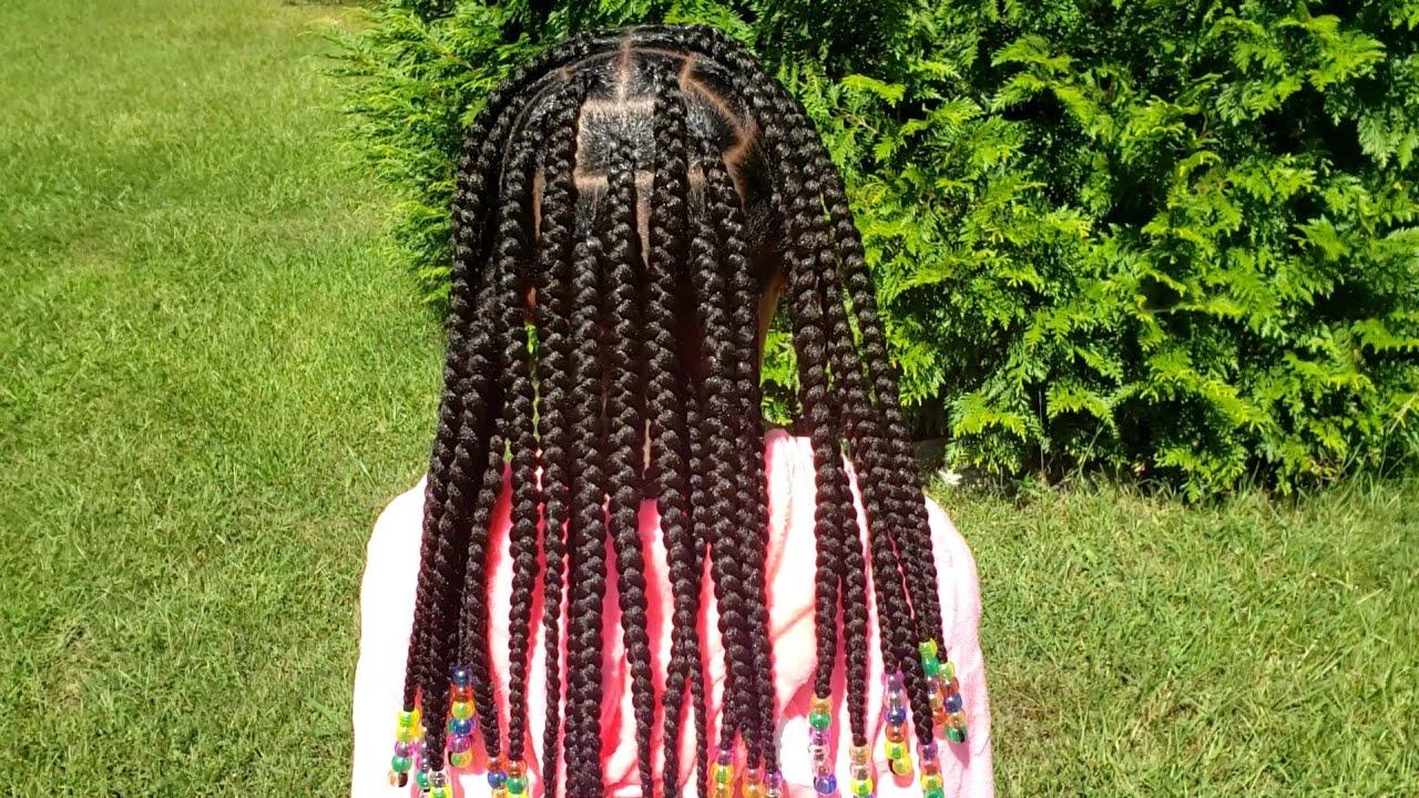 Little Girls Knotless Box Braids| Quick Braided Hair Styles| Kids Braids| Braids & Beads