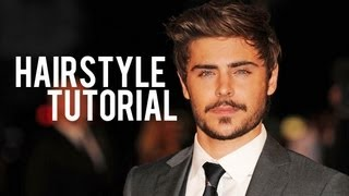 ZAC EFRON • SIDE-SWEPT MEN'S HAIRSTYLE (INSPIRED TUTORIAL) 2012