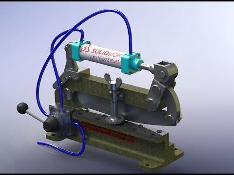 Pneumatic based Sheet metal cutter + Solidworks
