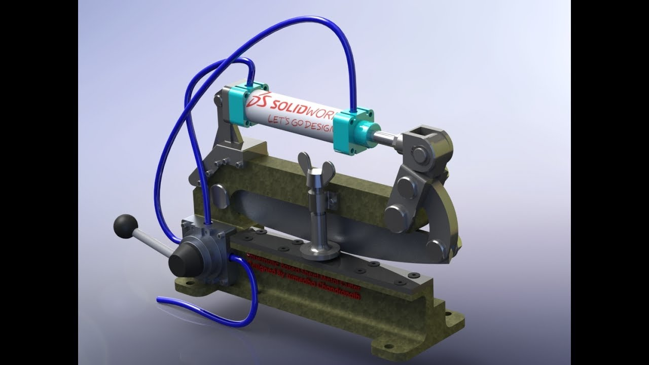 Pneumatic Based Sheet Metal Cutter Solidworks Youtube