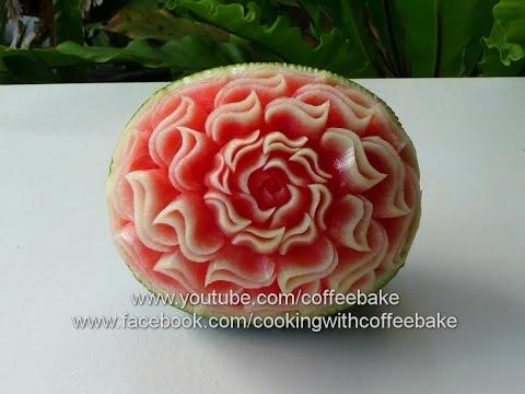 watermelon carving double s pattern 12, แกะสลัก แตงโม ลายเอสคู่ #12