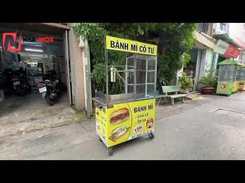 Tủ xe bánh mì chả cá inox 1mx55x1m76 - Nhã Inox