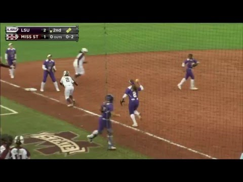 softball LSU wild rundown Vs. Mississippi State everyone safe