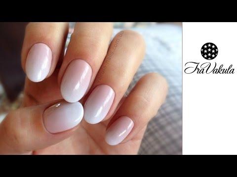 Градиент розово белый на ногтях