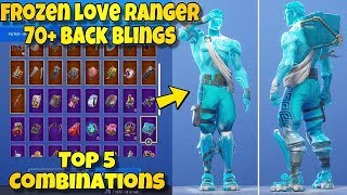 "NEW ""FROZEN LOVE RANGER"" SKIN Showcased With 70+ BACK BLINGS! Fortnite Battle Royale - TOP 5 COMBOS!"