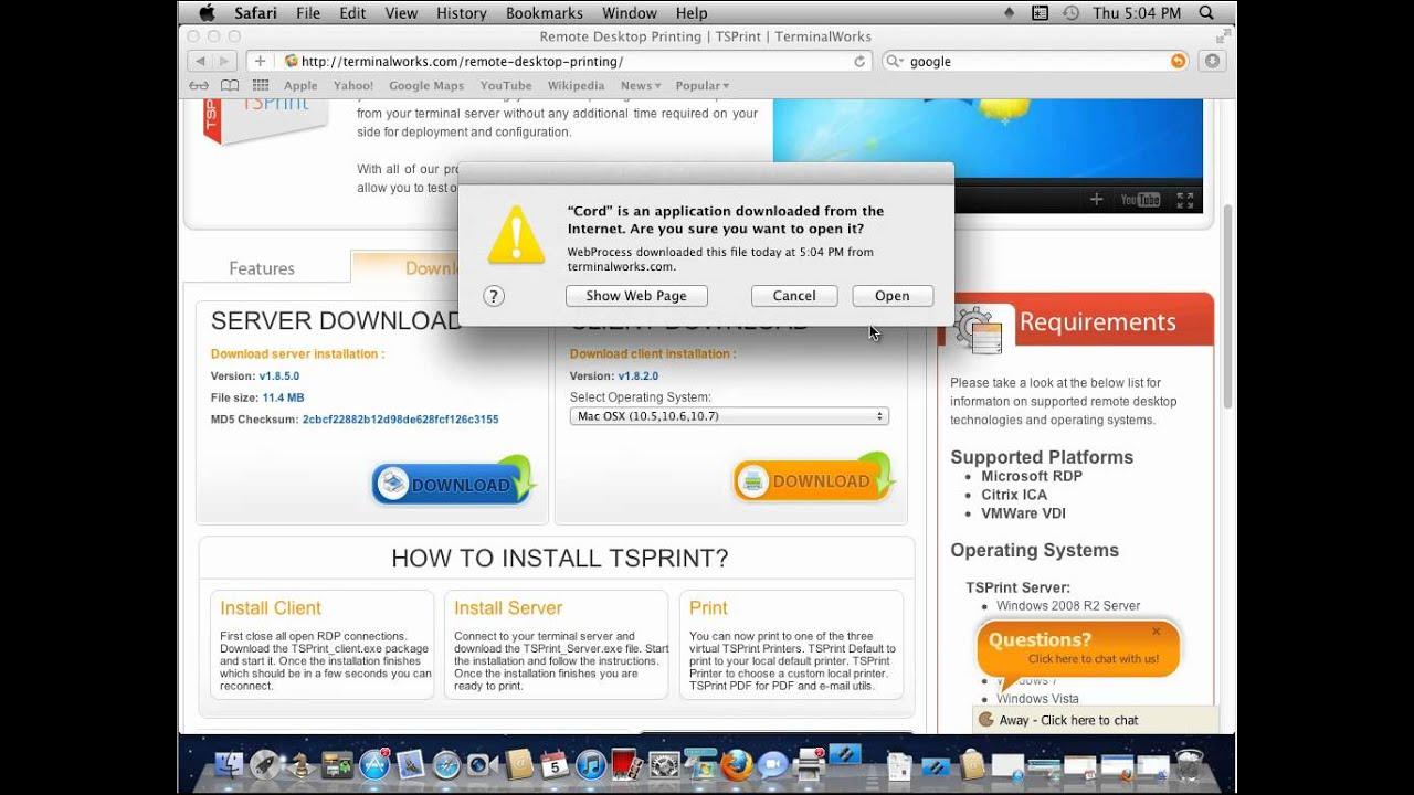 TSPrint mac Client