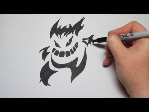 Easy How To Draw A Tattoo Style Tribal Pokemon Gengar For Kids Youtube