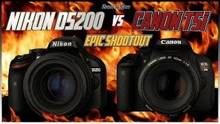Nikon D5200 vs Canon T5i (700D) EPIC Shootout Comparison | Which Camera to Buy?(Another EPIC shootout between the Nikon D5200 and the Canon T5i. I know many of you are probably Christmas shopping and wanting to know how these two ..., 2013-11-12T09:49:08.000Z)
