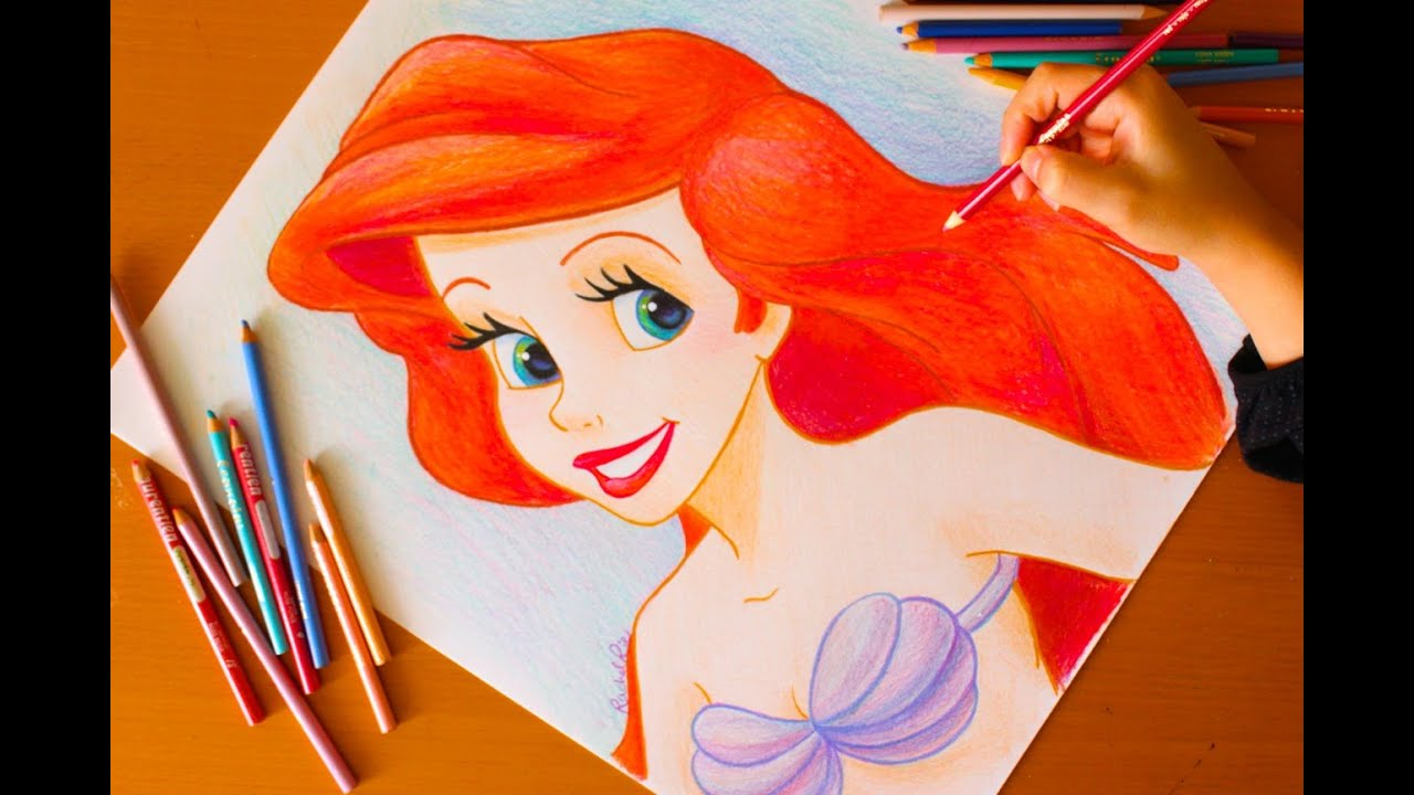 Drawing: PRINCESS ARIEL | Little Mermaid | BUDGET ART ...