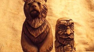 Резьба по дереву  Медведь скульптура. Woodcarving, sculpture bear