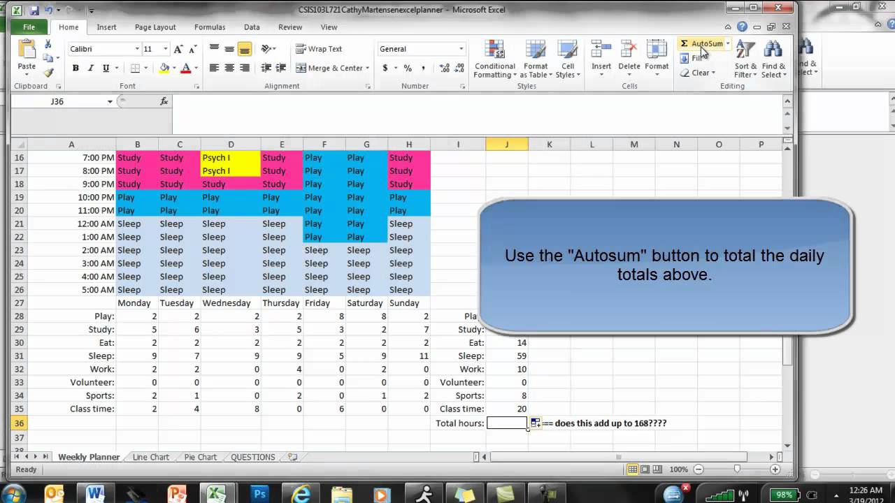 Excel Weekly Planner - YouTube