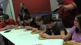 man lasagna eating challenge