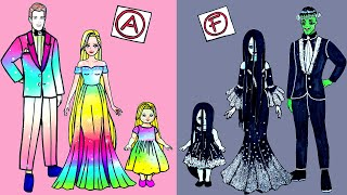 Paper Dolls Dress Up - Contest Rapunzel & Sadako Dresses Handmade Quiet Book - Barbie Story & Crafts