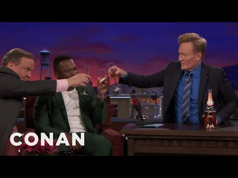 """Curtis """"50 Cent"""" Jackson Pops A Bottle Of Pink Champagne  - CONAN on TBS"""