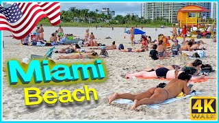 【4K】WALK MIAMI BEACH South Beach 4k SLOW TV travel video Bikini Beach USA