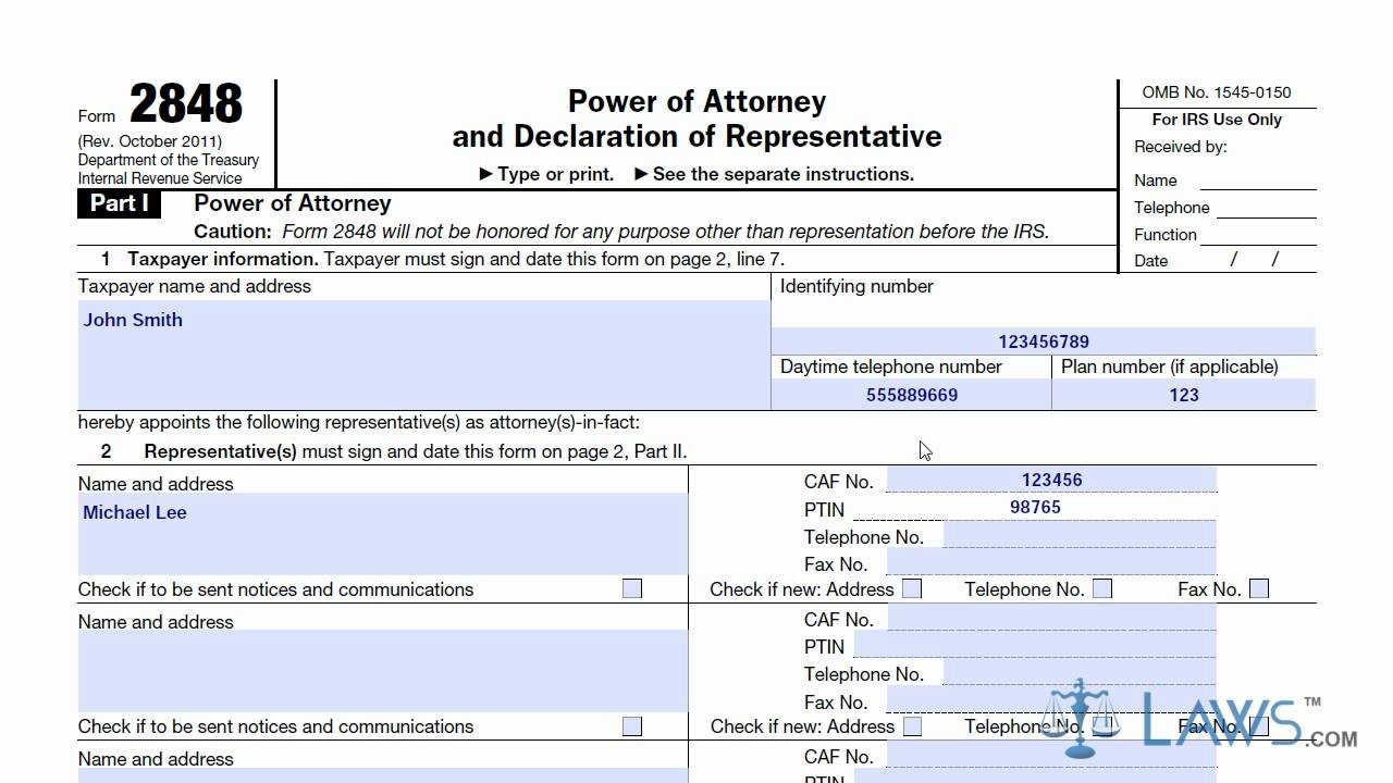 power of attorney form 2848 irs  Form 11