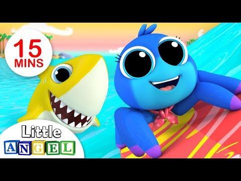 A Dona Aranha é Surfista com o Bebê Tubarão! (Baby Shark) | Vídeos Infantis | Little Angel Português