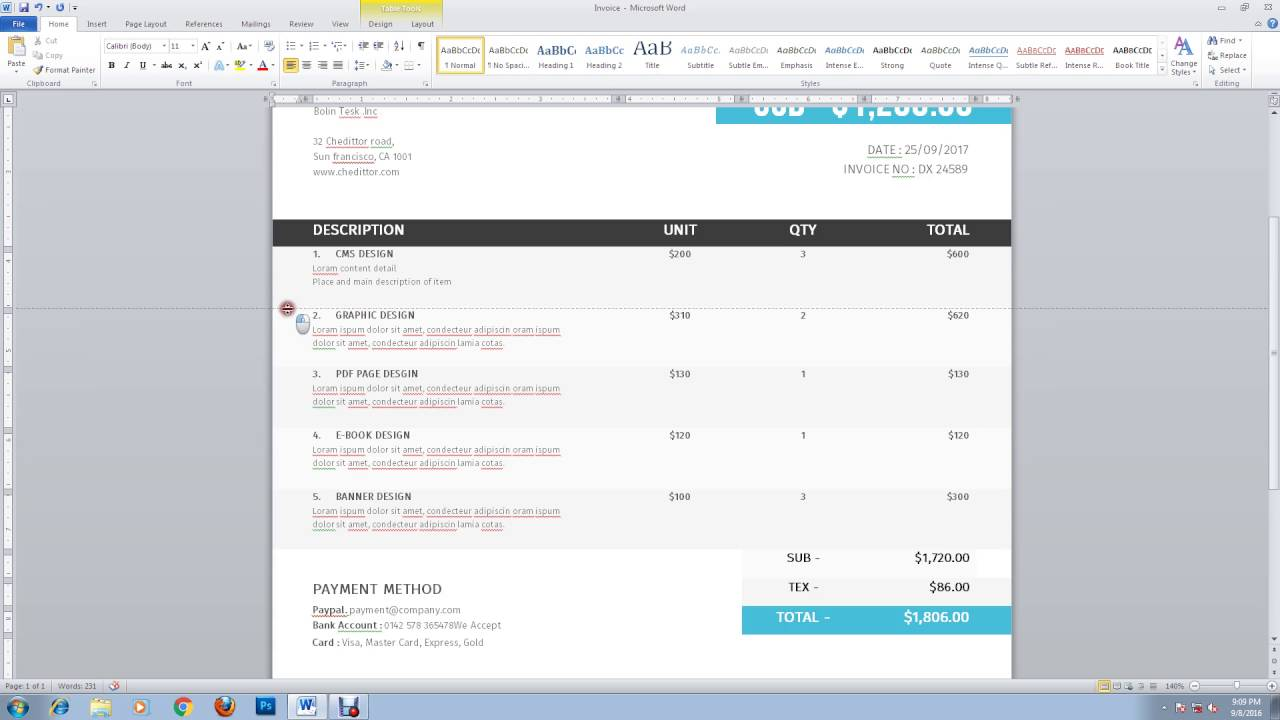 retail invoice template ms word detail youtube