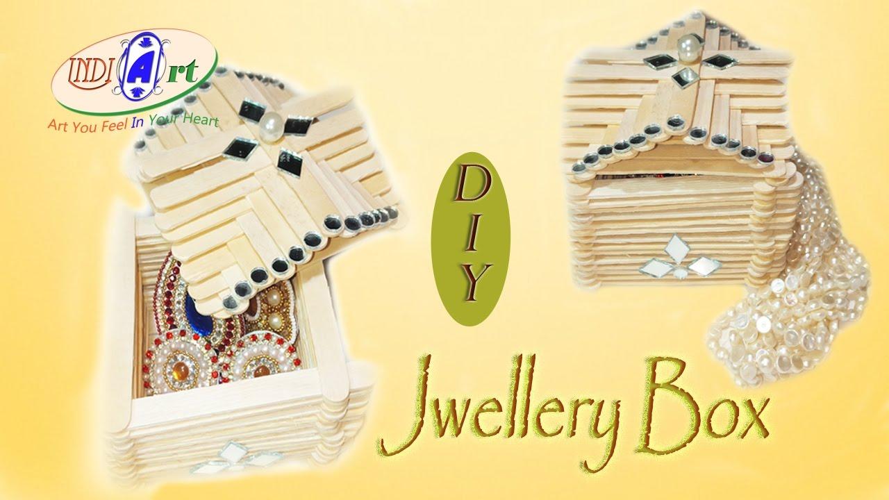 how to make jewelry box with ice cream sticks | INDI ART | #10 - YouTube