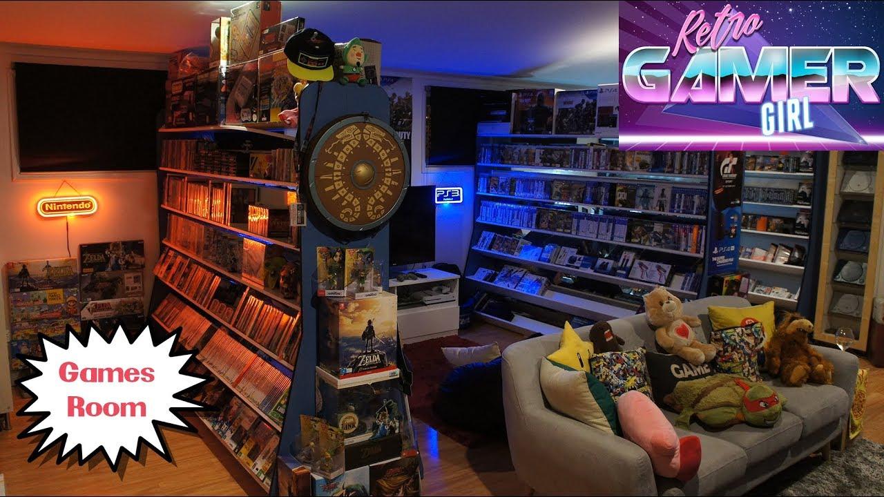 games room tour day vs night huge collection retro gamer girl rh youtube com Luxury Snack Room Luxury Game Room Huge