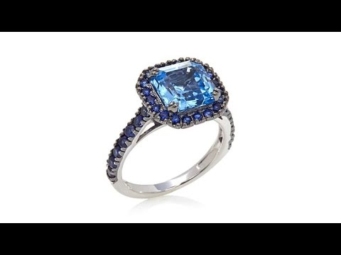 Sapphire and Created Blue Sapphire Sterling Silver Pav Frame Ring