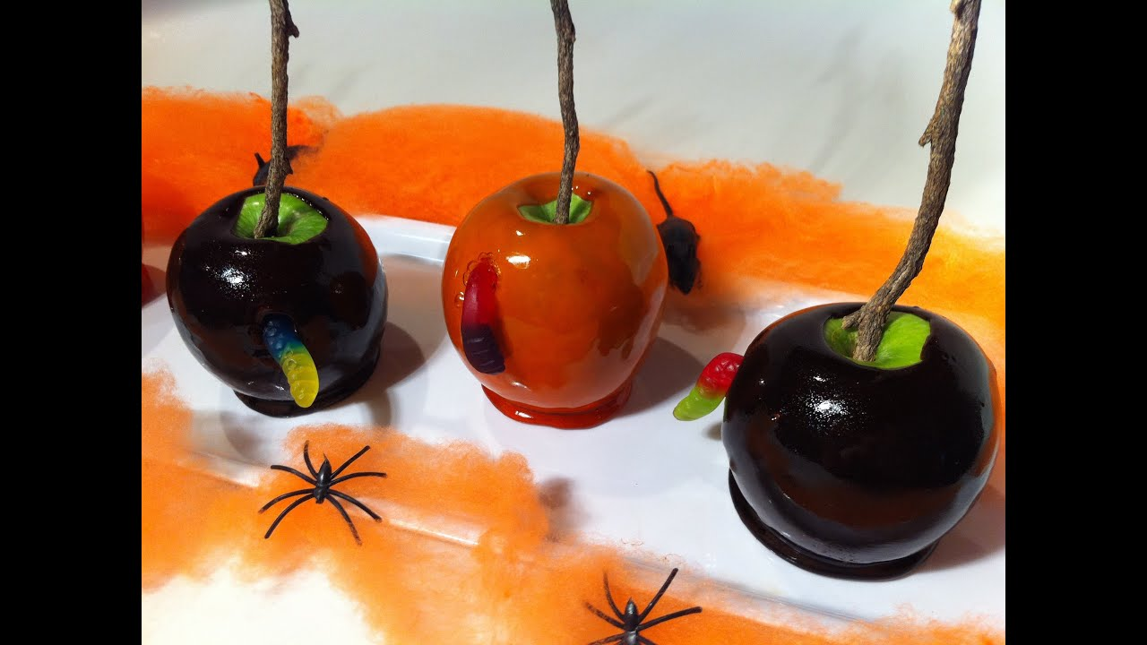 How to make creepy candy apples youtube for Caramel apple recipes for halloween