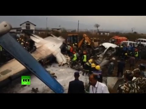 Scene of plane crash at Kathmandu airport (Live feed part I)
