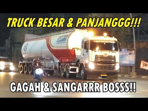 Truck Trailer ISO Tank UD QUESTER Truk Gandeng Truk Tronton Wing Box HINO Isuzu FUSO Di Tikungan