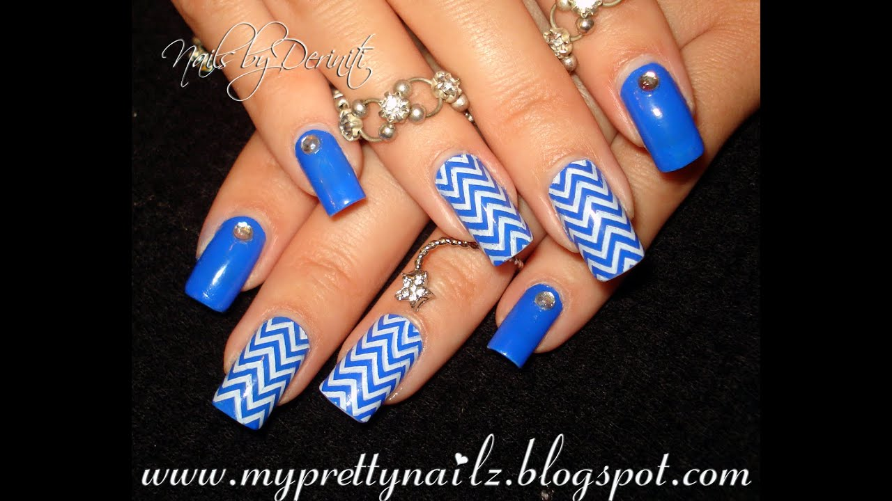 Royal Blue Chevron Print Bps Rhinestone Studded Easy Nail