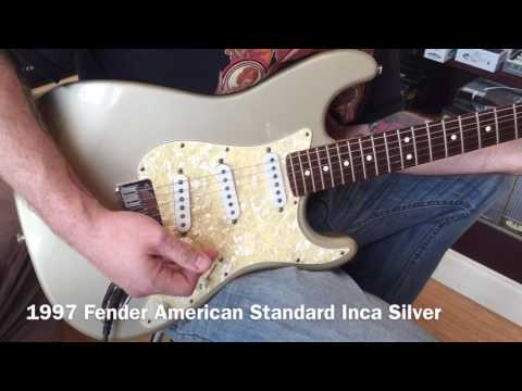 1997 Fender American Standard Stratocaster Electric Guitar Inca Silver