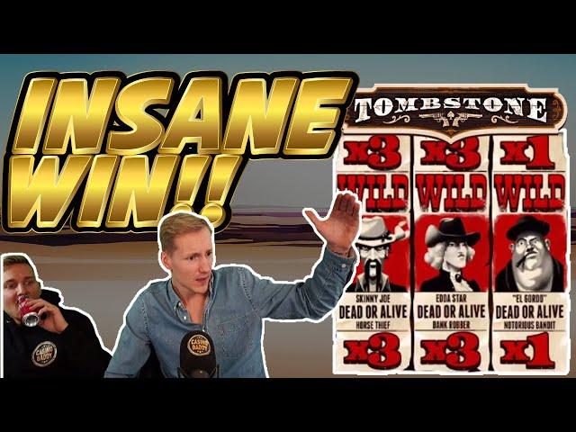 INSANE WIN! Tombstone Big win - HUGE WIN on Casino slots from Casinodaddy LIVE STREAM