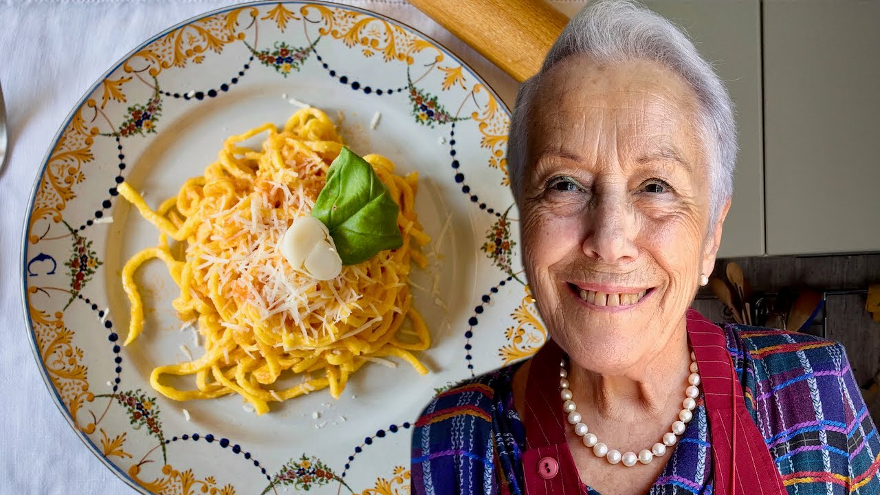Pasta Grannies share Claudia's shoelace spaghetti with shallots or 'curzul allo scalogno'
