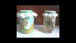 Decoupage em pote de vidro pintado