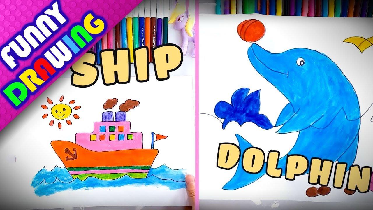 DIY - How to draw the ship and dolphin easy - Dạy bé vẽ và tô màu