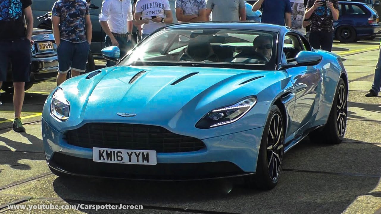 frosted glass blue aston martin db11 | revs and start up sound