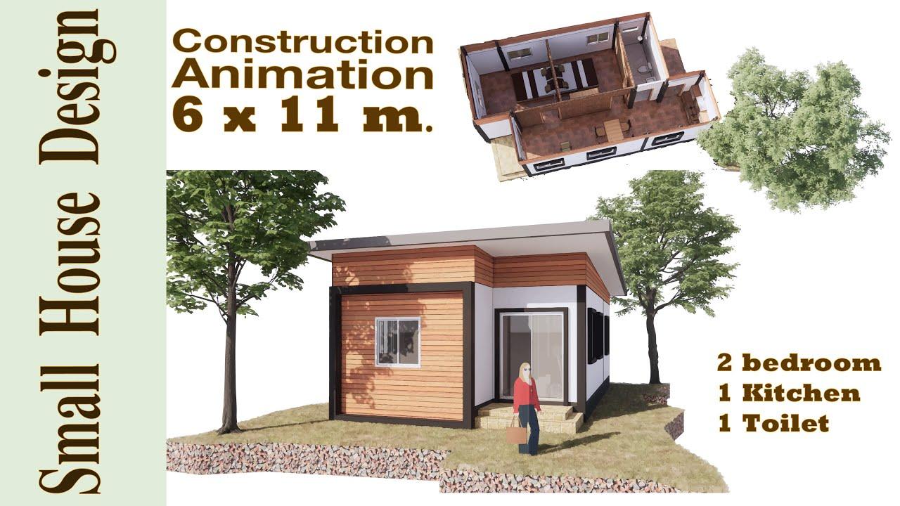 Small House Design 6 X 11 M Modernhouse Loft 2 Bedroom 1 Livingroom 1 Toilet Youtube