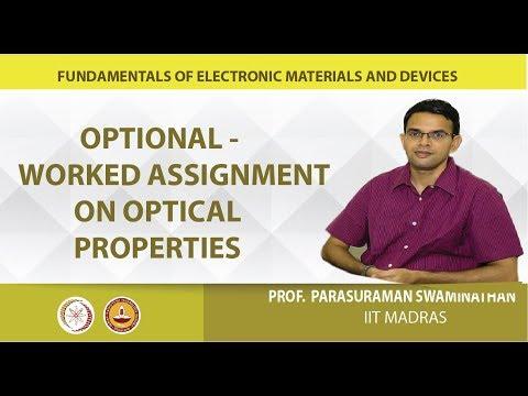 Mod-01 Assignment 7 - optical properties