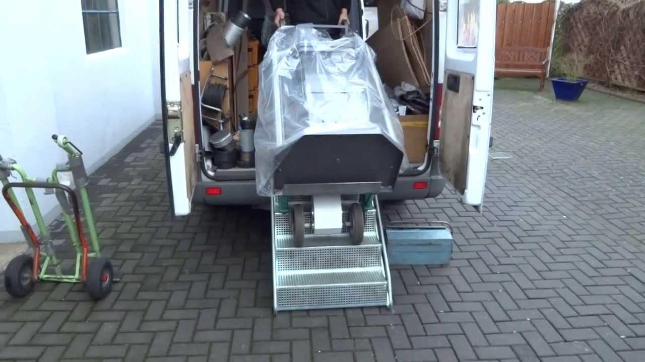 Kühlschrank Im Auto Liegend Transportieren : Treppenliftkaminofen transportieren mit profi werkzeug youtube