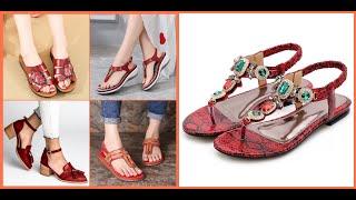 Red Color Ladies Sandals 2020=…