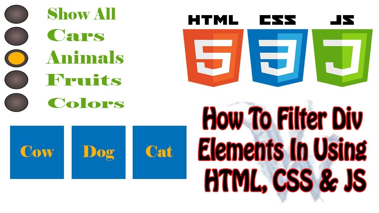 How To Create Filter Element In HTML | Filter Div Element | HTML Tutorials  Amazing Techno Tutorials