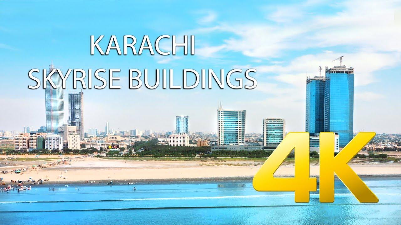 Karachi Skyline Montage Aerial 2019
