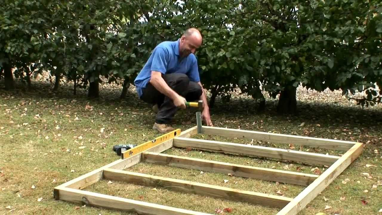 How to build a wooden base for a shed - YouTube