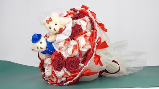 Сладкий букет. Подарок на годовщину свадьбы. Идея красивой поделки