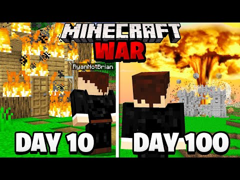 Surviving 100 Days in a Minecraft WAR.. here's what happened - RyanNotBrian